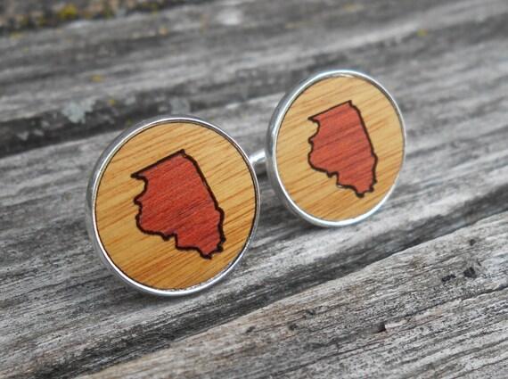 Wood State Cufflinks. CHOOSE YOUR STATE. Inlay, Laser Engraved. Wedding, Groomsmen Gift, Groom, Anniversary, Birthday