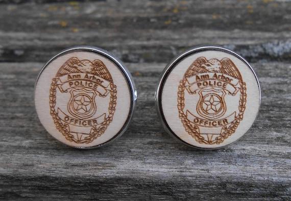 Police Custom Cufflinks. Wedding, Men's, Groom Gift, Anniversary. Silver, Gold, Rose Gold, Gunmetal. Custom Orders Welcome.