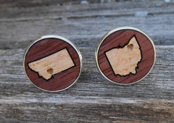 Wood Inlay State Cufflinks. CHOOSE YOUR STATES. Wedding, Groom, Anniversary, Groomsmen Gift, Dad, Christmas, Valentine, Father's Day