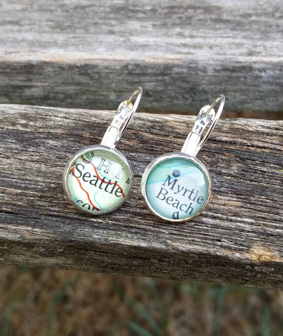 Custom Map Earrings.  CHOOSE YOUR PLACES.  Wedding,  Anniversary, Christmas Gift, Citizenship, Bridesmaid, Bridal.