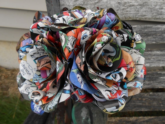 6 Comic Book Roses.  CHOOSE Your Comic. Wedding, Birthday, Anniversary, Centerpiece. Gift.