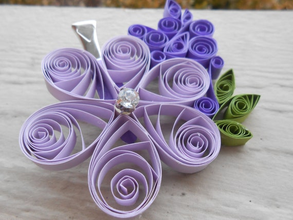Purple Flower Hair Piece, Quilled Paper. Wedding , Bridal Hair Piece. Paper Flowers. Bride, Bridesmaid, Flower Girl.