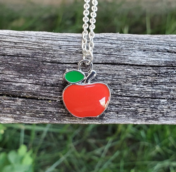 Red Apple Necklace. Gift For Teacher, Kids, Anniversary, Birthday, Christmas, Mom