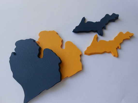 50 Michigan State Shapes. CHOOSE YOUR COLORS. 3.5 inch. Escort Cards, Place Tags, Gift Tags, Wishing Tree.
