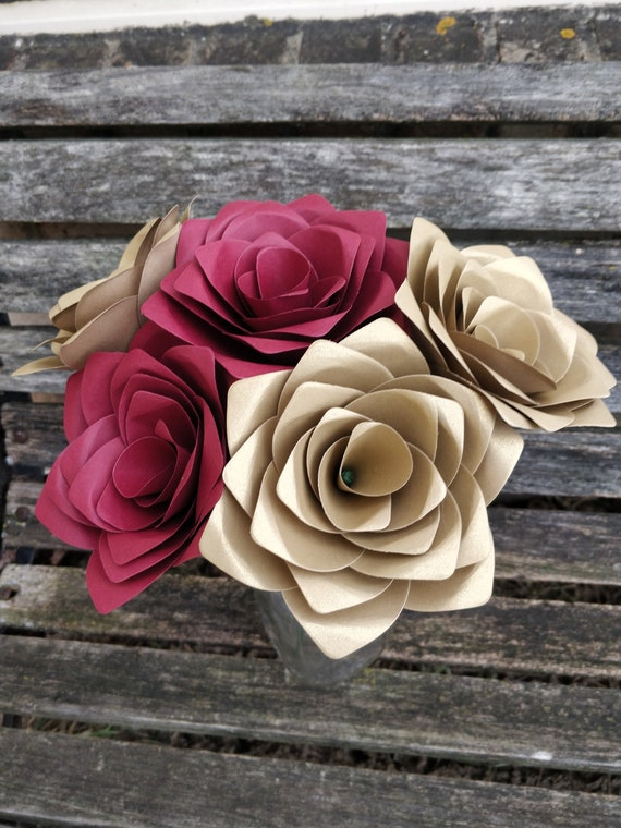 Dozen Paper Roses. CHOOSE YOUR COLORS. First Anniversary, Wedding Centerpiece, Birthday, Valentine's