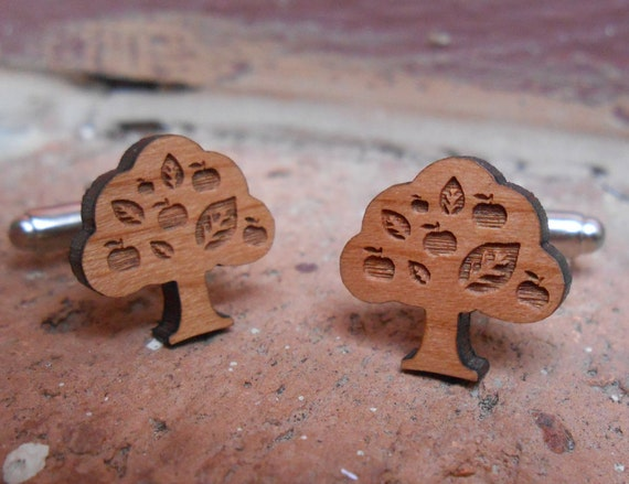 Wood Apple Tree Cufflinks. Wedding, Men's, Groomsmen Gift, Dad. Custom Orders Welcome.
