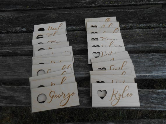 50 Custom Wedding Place Cards, Escort Cards. Rustic Name Tags, Laser Engraved Wood. CHOOSE YOUR SIZE. Custom Orders Welcome