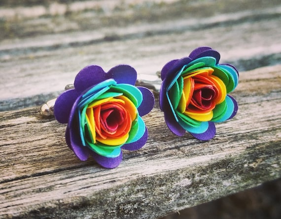 Rainbow Cufflinks. Or CHOOSE YOUR COLORS!  Wedding, Men's Christmas Gift, Dad. Silver Plated.
