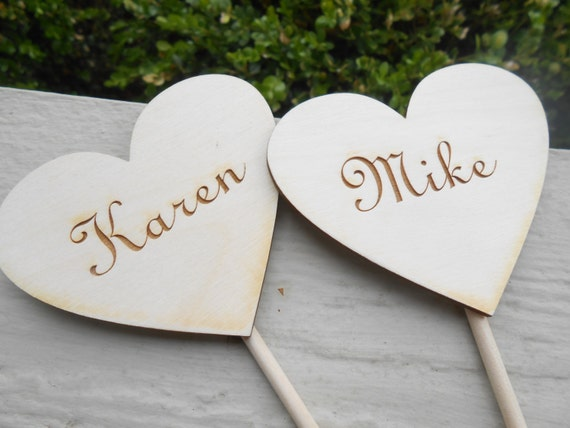 Personalized Cake Topper Hearts.  Laser Engraved Wood. Wedding, Shower