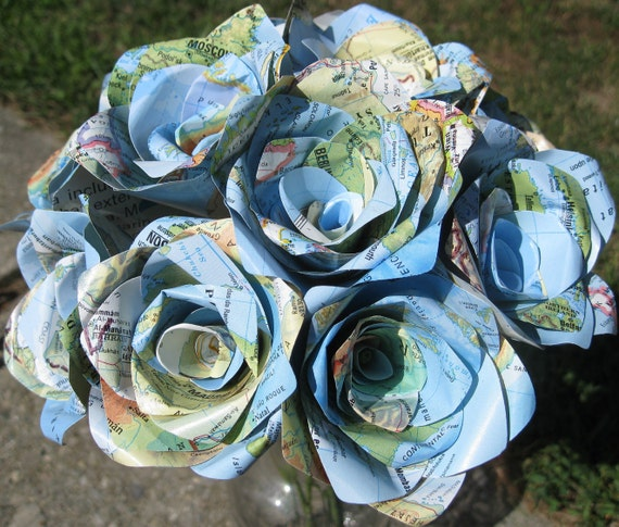 One Dozen Vintage MAP Paper Roses. Handmade Bouquet. Other Colors Available. CUSTOM ORDERS Welcome.