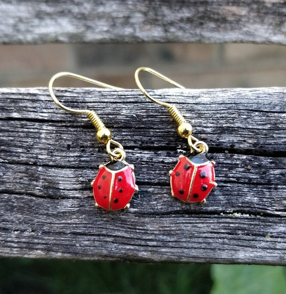 Ladybug Earrings. Birthday Gift, Wedding Gift, Bridesmaid, Mom, Anniversary Gift. Dangling