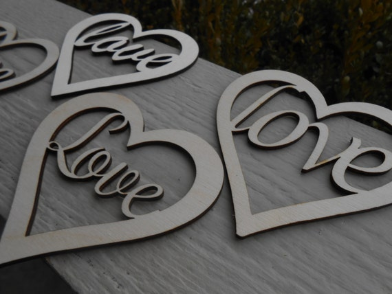 "Wood ""love"" Hearts, Set of 4. Laser Cut. Wedding, Event, Valentine Decoration, Gift."