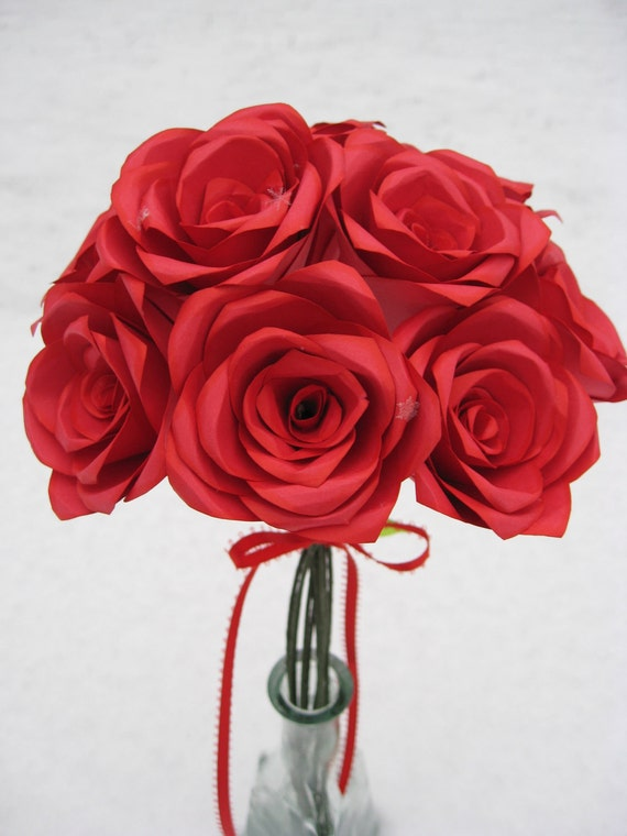 Dozen Paper Roses, Handmade Bouquet. Other Colors Available.