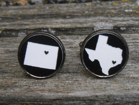 His & Hers State Cufflinks. Black, White Acrylic. Wedding, Men's, Groomsmen Gift, Dad. Custom Orders Welcome. Colorado, Texas