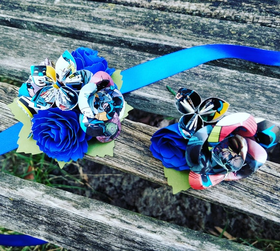 Comic Corsage & Boutonniere SET. Choose Your Comics, Colors. Wrist or Pin-On Corsage. Weddings, Prom, Homecoming, Bridesmaid, Mother