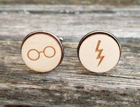 Lightning & Glasses Cufflinks. Wedding, Men, Groom Gift, Anniversary, Birthday. Silver, Gold, Rose Gold, Gunmetal. Custom Orders Welcome.