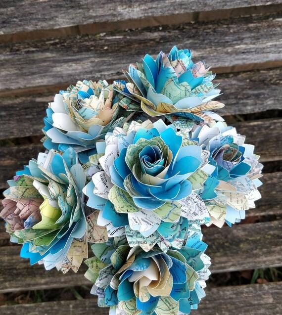 Map Flowers, Half Dozen Dahlias. Centerpiece, Wedding, Paper Flower Bouquet