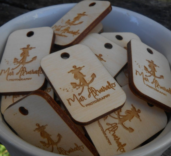 "50 ""YOUR LOGO"" Tags.  Custom Store Tags. Laser Engraved Wood. Custom Orders Welcome."
