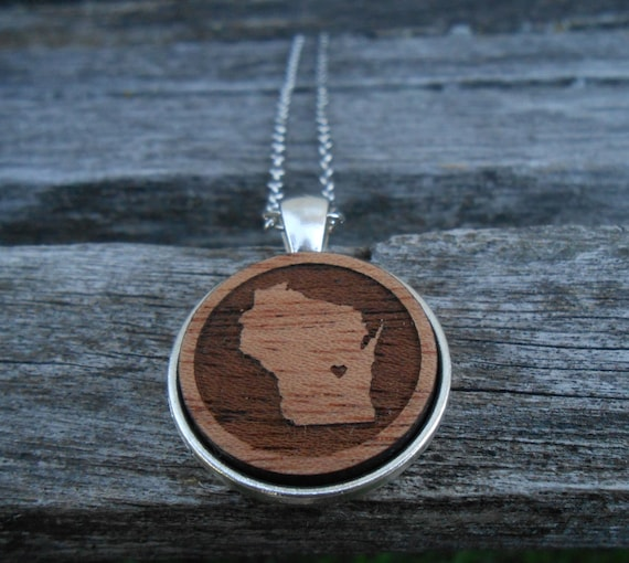 Wisconsin Necklace. Or CHOOSE YOUR STATE. Laser Engraved Wood. Wedding, Men, Women, Bridesmaid Gift. Custom Orders Welcome. Map