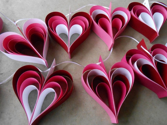 TWO Garlands Of Red, Pink, & White HEARTS. 10 Hearts. Wedding, Shower Decoration, Home Decor. Custom Orders Welcome. Any Color Available.