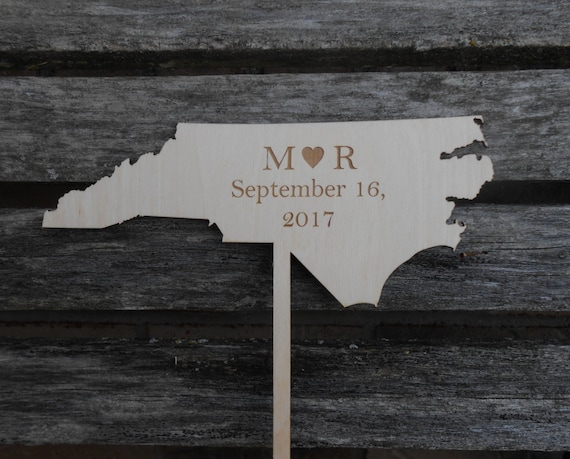 YOUR STATE Wedding Cake Topper.  Laser Engraved, Name & Date. Custom Orders Welcome. Monogram, Letter.