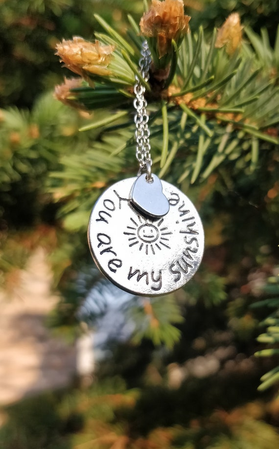 You Are My Sunshine Necklace. Gift For Mom, Anniversary Gift, Birthday, Daughters