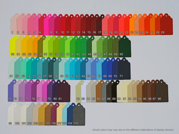 200 Scalloped Tags, CHOOSE SIZE & COLORS. Red, Orange, Yellow, Green, Blue, Purple, Black, White, Brown. Wedding, Favor.