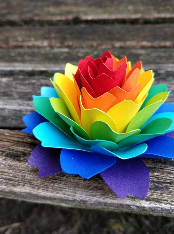 Rainbow Dahlia Paper Flower. ROYGBIV. Cake Topper, Wedding, Gift, Decoration, Anniversary, Birthday, Gay Pride.