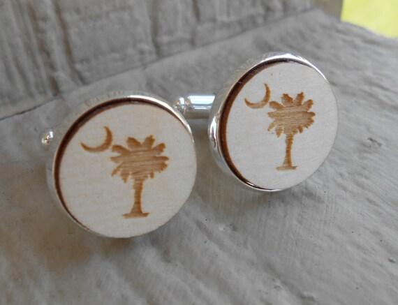 South Carolina State Flag Logo Cufflinks. Laser Engraved. Palm Tree, Moon. Wedding, Anniversary, Birthday, Christmas Gift, Dad
