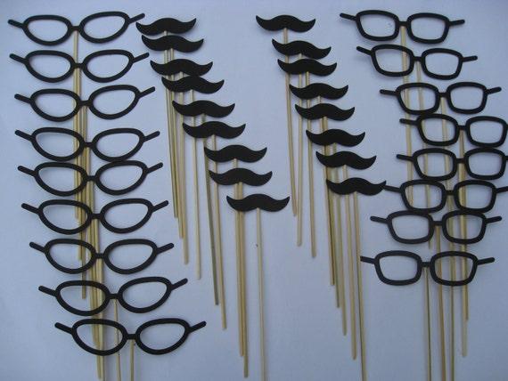 Paper Mustache & Glasses Party Favors. Photo Prop. 40 Pieces. CHOOSE YOUR COLORS.