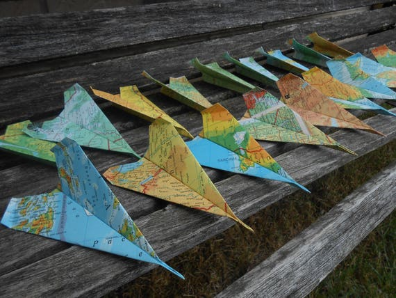 Vintage MAP Paper Airplanes. Reserved Listing.