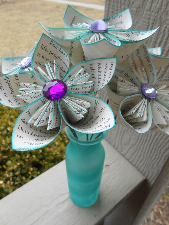 Book Paper Flower Bouquet. TEAL & PURPLE. Turquoise. First Anniversary, Weddings, Home Decoration, Centerpiece.