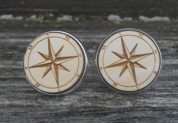Compass Cufflinks. Laser Engraved. Wedding, Men's, Groom Gift, Fifth Anniversary Gift, Valentine's Day. Wood. Groomsmen, Compass Rose