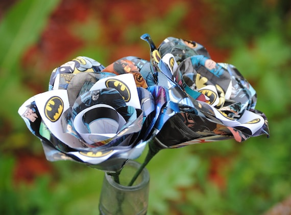2 Comic Book Roses.  Wedding, Birthday, Anniversary, Centerpiece. Gift. Custom Orders Welcome
