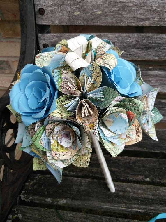 Custom Vintage Map Bridal Bouquet. YOU CHOOSE The MAPS. Made To Order. Boutonniere Included. Whole Wedding Parties Available.