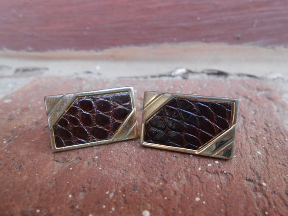 Vintage Leather Cufflinks. Wedding, Valentine's Day, Groom, Christmas Gift, Dad.  Gold Tone.