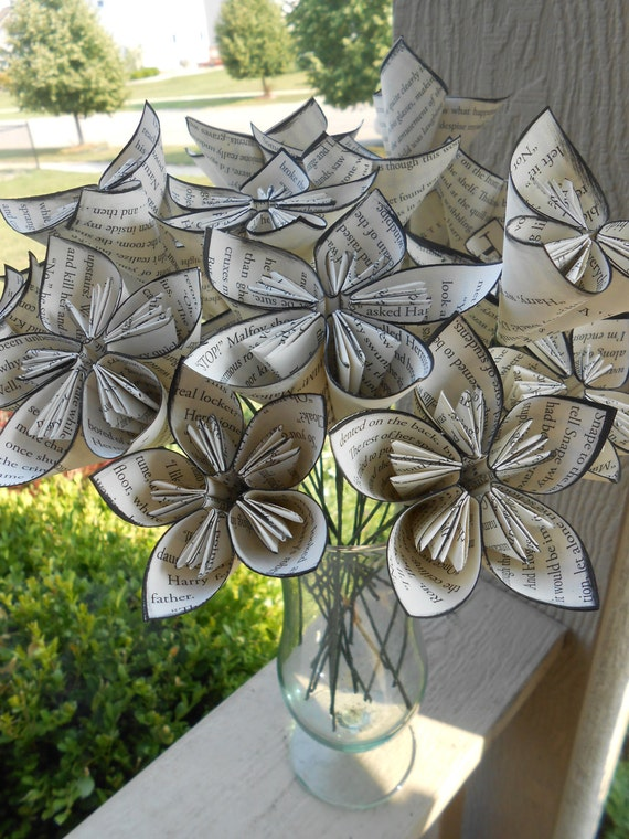 BOOK Paper Flower Bouquet. First Anniversary, Weddings, Home Decoration, Centerpiece.