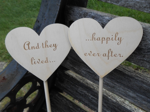 Happily Ever After Cake Topper Hearts, Laser Cut. Rustic Wedding Decoration. CUSTOM ORDERS WELCOME.