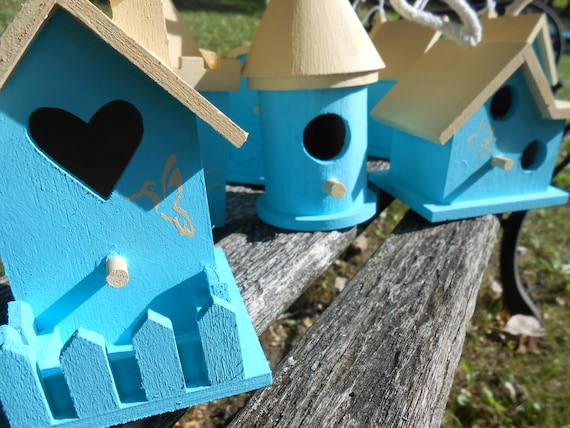 5 Birdhouses. YOUR CHOICE Of COLORS & Decoration.  Yard Decor, Wedding, Shower, Etc. Custom Orders Welcome.