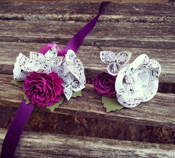 Sheet Music Corsage & Boutonniere SET. CHOOSE Your COLORS. Wrist or Pin-On. Weddings, Prom, Homecoming, Etc.