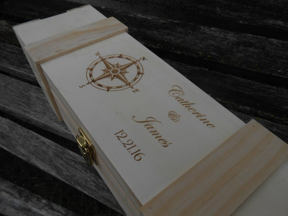Personalized Wine Box. Laser Engraved. Groomsmen Gift, Wedding Gift, 5th Anniversary. Choose Your Font & Words.