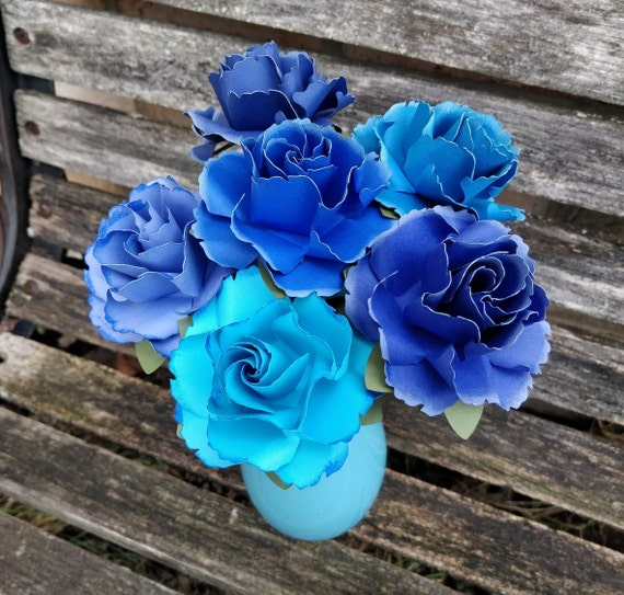 Blue Ombre Wild Roses, Half Dozen. Or CHOOSE YOUR COLORS. Centerpiece, Wedding, Paper Flower Bouquet