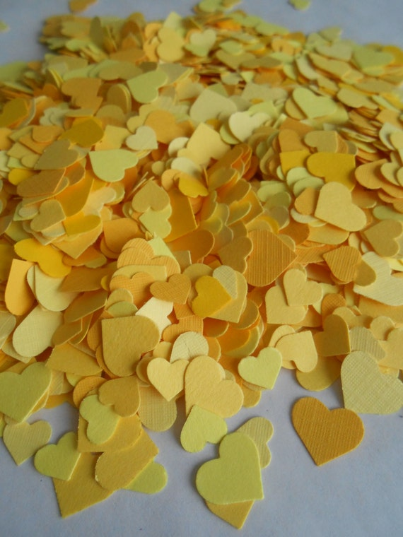 Over 2000 Mini Confetti Hearts. Shades of Yellow. Weddings, Showers, Decorations. ANY COLOR Available.