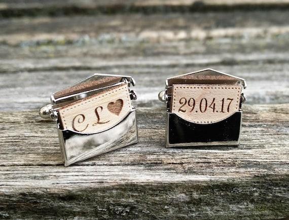 Personalized Envelope Cufflinks. Choose Your Words!! Wedding, Men, Groom Gift, Anniversary, Birthday.