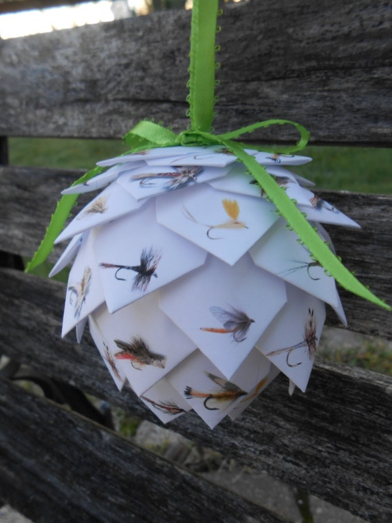 FLY FISHING Paper Ball Ornament. Decoration, Christmas, Gift, Birthday, Anniversary. Flies, Dad.