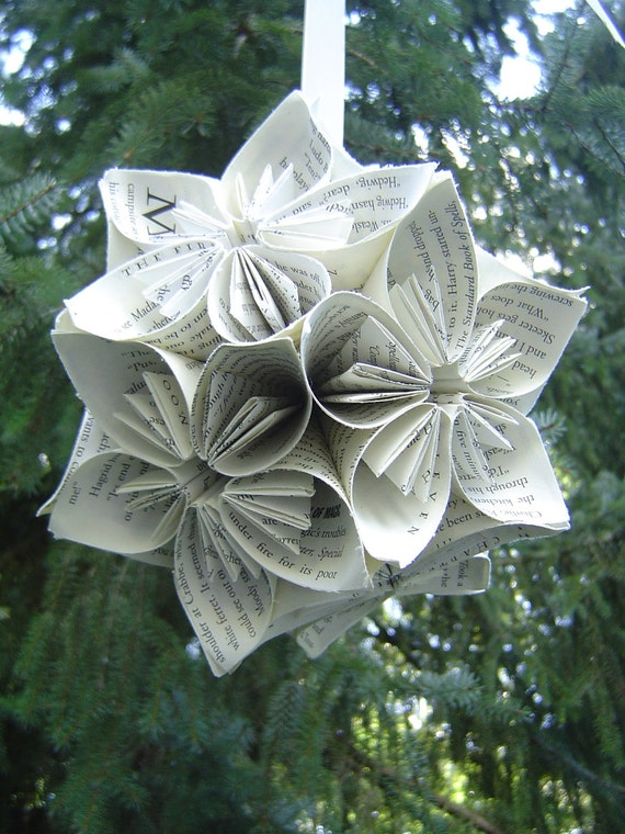 Book Kusudama Ball, LARGE Size. Upcycled Origami Gift. Great Gift or Decoration.
