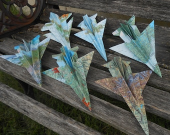 Vintage MAP Paper Airplanes. F-16, Dart, Military, Escort Card, Wedding Decoration, Place Card, Travel, Seating. Favor. Birthday