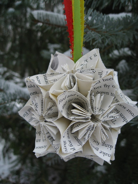 Book Kusudama Ball, Christmas Ornament. Origami Paper Flowers. Gift For Christmas. Other Sizes Available.