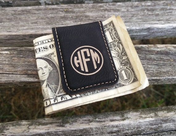 Customized Money Clip. Leather, Laser Engraved. Wedding, Groomsmen Gift, Dad, Anniversary. Groom, Birthday, Christmas, Stepdad. Magnet