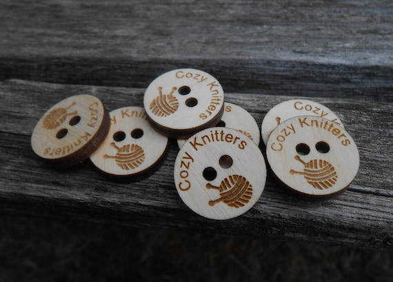 "50 ""YOUR LOGO"" Tags.  Custom Store Tags. Crochet Tag, Laser Engraved Wood. Custom Orders Welcome. Sewing, Business Card. Button Tag"